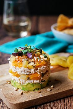 This kiwi and avocado chicken salad is stacked with flavor from the creamy avocado to the garlicy shredded chicken and sweet SunGold kiwi and orange pieces.