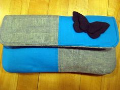Butterfly Clutch made from wool, felt and cotton