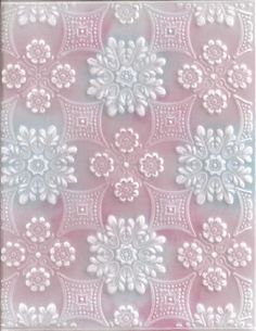 """Vellum dry emboss in the Anna Griffin """"Foulard"""" embossing folder, then sponged on the reverse side. Pretty! Try this with other embossing folders. (The link doesn't work)"""