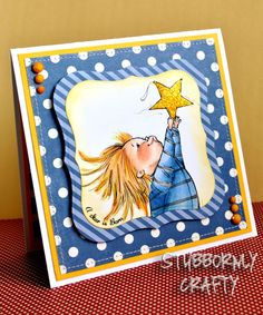 Mo's Digital Pencil, Copic Colored Handmade Card, Hanging the Star, Baby, Christmas