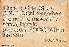 Chaos and confusion.  A recovery from narcissistic sociopath relationship abuse.