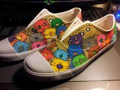 de chaussures chaussures fleurs chaussures peintes flowered sneakers ...
