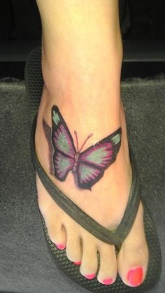 Butterfly Tattoo Design On Foot