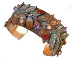 Bayberry Leaf Cuff Bracelet with Semiprecious Stones *** Find out more about the great product at the image link.-It is an affiliate link to Amazon. #Bracelet