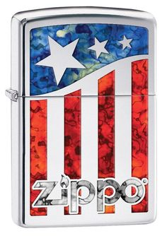 Zippo FUSION Patriotic American Flag & Logo Cigarette Windproof Lighter