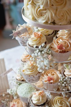 Crafty Rustic Barn Wedding Cupcake Wedding Cake http://www.fionasweddingphotography.co.uk/
