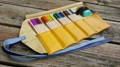 Leather Pencil Roll / Yellow and Blue / 24 ct