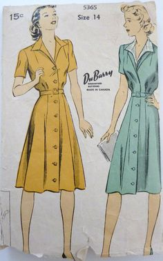 Vintage Sewing Pattern Du Barry 5365 circa 1940's // Women's Dress // Mid Century