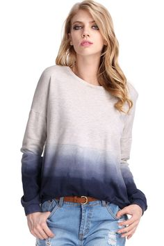 ROMWE | Gradient Color Blue-grey Pullover, The Latest Street Fashion