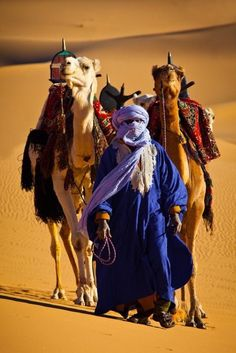 Touareg in the Sahara desert, Morocco.