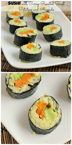 Think making sushi at home is hard? Think again - these Sushi with Curry-Roasted Sweet Potatoes, Avocado and Cardamom Millet Rice are super easy and super delicious.