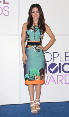 Rachel Bilson -- Rachel Bilson: Wearing a cute, zippered Milly crop top and matching pencil skirt, along with strappy white sandals, to the People's Choice Awards nominations announcement in Beverly Hills (11/5/13) Credit: David Livingston/Getty Images