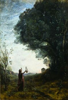 [Orpheus Greeting the Dawn, Jean-Baptiste-Camille Corot] Orpheus was a greek legendary hero endowed with superhuman musical skills. Orpheus's singing and playing were so beautiful that animals and even trees and rocks moved about him in dance. Ancient Greek Religion, Ovid Metamorphoses, Gustave Courbet, Jean Baptiste, Greek Mythology, Dark Art, Lovers Art, Art Museum, Landscape Paintings