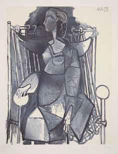 Title: Femme Assise dans un Fauteuil Tresse Year of Original: 1953 Year of Publication: 1979-1982 Medium: Lithograph on Arches Paper Edition: 500, 34 AP's Paper Size: 29 x 22 inches Ref #: 25-6