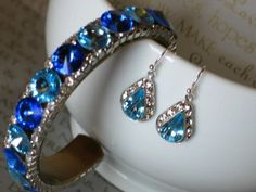 Something Blue Bridal Earrings Glam Tear Drop by NinaReneeDesigns, $27.00