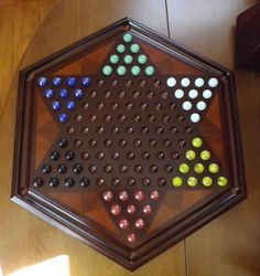 Bombay Wooden Chinese Checkers Board with Marbles - Spectacular