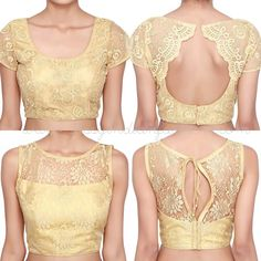 Gold Net Saree Blouse Designs