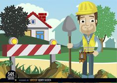 Construction man with a shovel beside an under construction barricade with a hole. He has a field with houses behind. It's perfect for using in construction promos or warnings, business cards, etc.Commons 3.0. Attribution License.