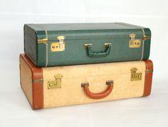 Vintage Luggage; Vintage Suitcase; Tweed Suitcase; Vintage Trunk; Travel Decor; Travel Theme; Vintage Storage by PurpleMouseStories on Etsy