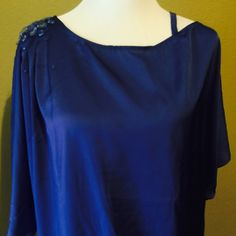 """Gem shoulder blouse Nautical blue blouse Europe size 44 it's X large in U.S. 26 """"pit to pit Tops Blouses"""