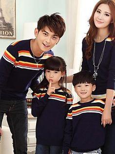 blusas de manga longa o-pescoço da família