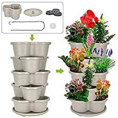 Amazing Creation Stackable Planter Vertical Garden for Growing Strawberries, Herbs, Flowers, Vegetables and Succulents Indoor Outdoor 5 Tier Gardening Tower Hanging Planter Off-White - Modern Garden Nook, Lawn And Garden, Tower Garden, Growing Strawberries In Containers, Grow Strawberries, Indoor Outdoor, Outdoor Living, Herb Garden Planter, Vertical Planter