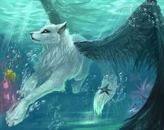 Water wolf with wings