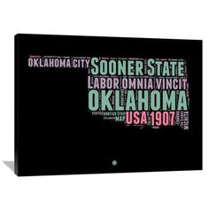 "Naxart 'Oklahoma Word Cloud 1' Textual Art on Wrapped Canvas Size: 36"" H x 48"" W x 1.5"" D"