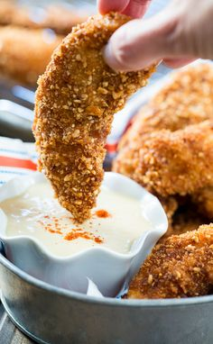 Peanut Crusted Chicken Fingers with Honey Maple Sauce