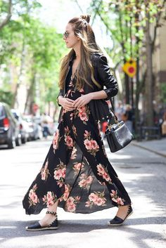 spring outfit, summer outfit, casual outfit, comfy outfit, travel outfit, summer getaway outfit, summer vacation outfit - black leather jacket, black floral print maxi dress, black lace up espadrilles, black studded espadrilles, black espadrilles, black shoulder bag, aviator sunglasses