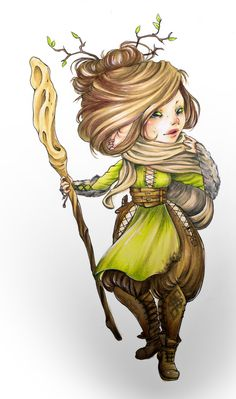 f Gnome Druid staff community hills forest farmland Was there a squirrel? by wool-gatherer Dungeons And Dragons Classes, Dungeons And Dragons Characters, Dnd Characters, Fantasy Characters, Character Creation, Character Art, Character Design, Character Ideas, Character