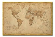 World Map Poster Ye Old Parchment Cork Pin Memo Board Oak Framed - 96.5 x 66 cms (Approx 38 x 26 inches):Amazon:Kitchen & Home