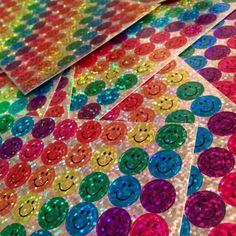 Who remembers these sparkly smiley face stickers you would get in school for a good grade on an assignment? Bring these colorful stickers back! Collage Mural, Photo Wall Collage, Picture Wall, Rainbow Aesthetic, Aesthetic Indie, Indie Room, Indie Kids, Aesthetic Pictures, Aesthetic Wallpapers