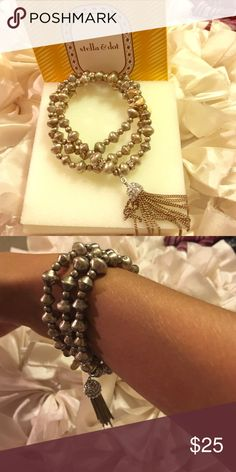 Stella & Dot Bracelets... 3 in 1 $25 Stella &Dot Gold/Silver Tassel Bracelets.. 3 in 1!! Wear them 3 different ways... $25. Comes with original Stella & Dot Box Stella & Dot Jewelry Bracelets
