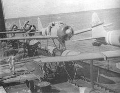Several A6M2-N Rufes on the Kamikawa Maru seaplane tender ship