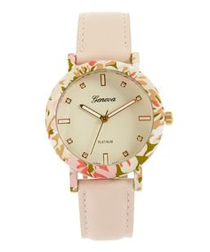 Love this Ivory Floral-Case Watch by Geneva Platinum on #zulily! #zulilyfinds