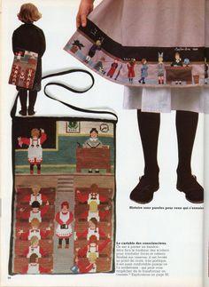 """100 Idées n° 83 - septembre 1980 - Article """"la rentrée des tabliers"""" - réalisation Isabelle Garçon - photos Jérôme Tisné - ouvrages Anne Muchir - sac brodé et tablier en patchwork appliqué et brodé."""