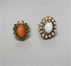 Estate 14k Gold Mexican Fire Opal Ring Lot of 2