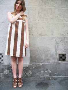 Beige and brown striped dress handmade made in by EssereAtelier,