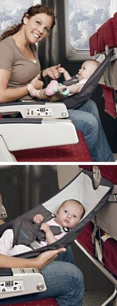 Portable Hammock-style Seat creates a secure and comfortable place for Baby on Airplanes & allows for face-to-face interaction. It can also be used as a convenient high chair. Folds for easy travel & will fit easily in a diaper bag #brilliant