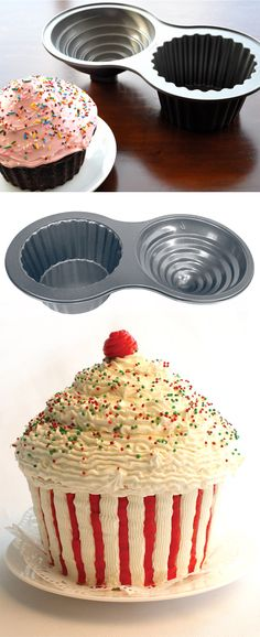 The best way to make a giant and impressive cupcake for the birthday party by this non-stick large cupcake pan. The non-stick surface makes sure an easy removal and hassle free clean up. Large Cupcake, Giant Cupcakes, Non Stick Pan, Baking Supplies, Dessert Recipes, Desserts, Cake Pans, Amazing Cakes, Eat Cake