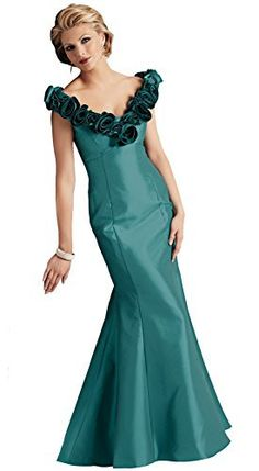 Caterina 4031 Mermaid Mother of the Bride Dress, Teal, 14 - Gorgeous taffeta tip of the shoulder gown is enhanced by rosettes on the neckline. Iridescent taffeta with chiffon. This mermaid fit to flared styled gown pulls out all the stops! Showcase your assets with this beautiful V-neckline that gracefully hits the tip of the shoulders. Stunning chiffon and taffeta ruched flowers surround the neckline.