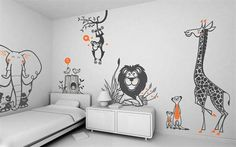Fun! unique wall picture- for kids bedroom-wild animals