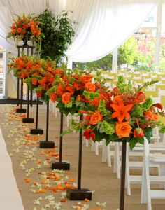 Wedding Ceremony -use less and a little shorter or taller so they don't interfere with pictures