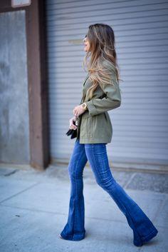 Pam Hetlinger wearing a Topshop Belted Utility Jacket & 7 For all Mankind Flare Jeans