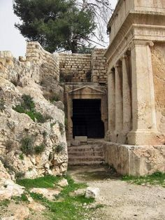 Yad Avshalom - Tomb of Absalom. A view from the Kidron valley side looking on the north side. In the back - the tombs of King Joshafat.