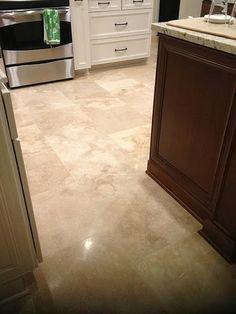 Palm Harbor, Florida 18x18 brick set travertine kitchen floor & backsplash #tile #travertine #palmharbor #ceramictec