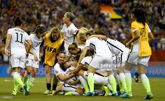 Kelly O'Hara of USA and her team mates celebrate after winning the FIFA Women's World Cup 2015 Semi Final match between USA and Germany at Olympic Stadium on June 30, 2015 in Montreal, Canada.
