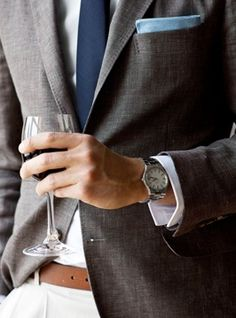 ... even the plainest man-closet can pull this one off! Just add the watch, belt and pocket square.