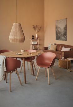spaces dining table chandeliers Boho Style Warm Breakfast Nook for an all brown / orange space with our HAY modern dining chairs Cozy Grey Living Room, Boho Living Room, Living Room Decor, Living Rooms, Living Room Modern, Living Spaces, Bedroom Decor, Wall Decor, Room Paint Colors